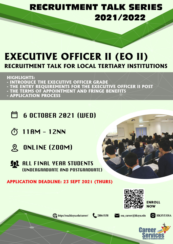 Recruitment Talk – Executive Officer II (EO II) 2021